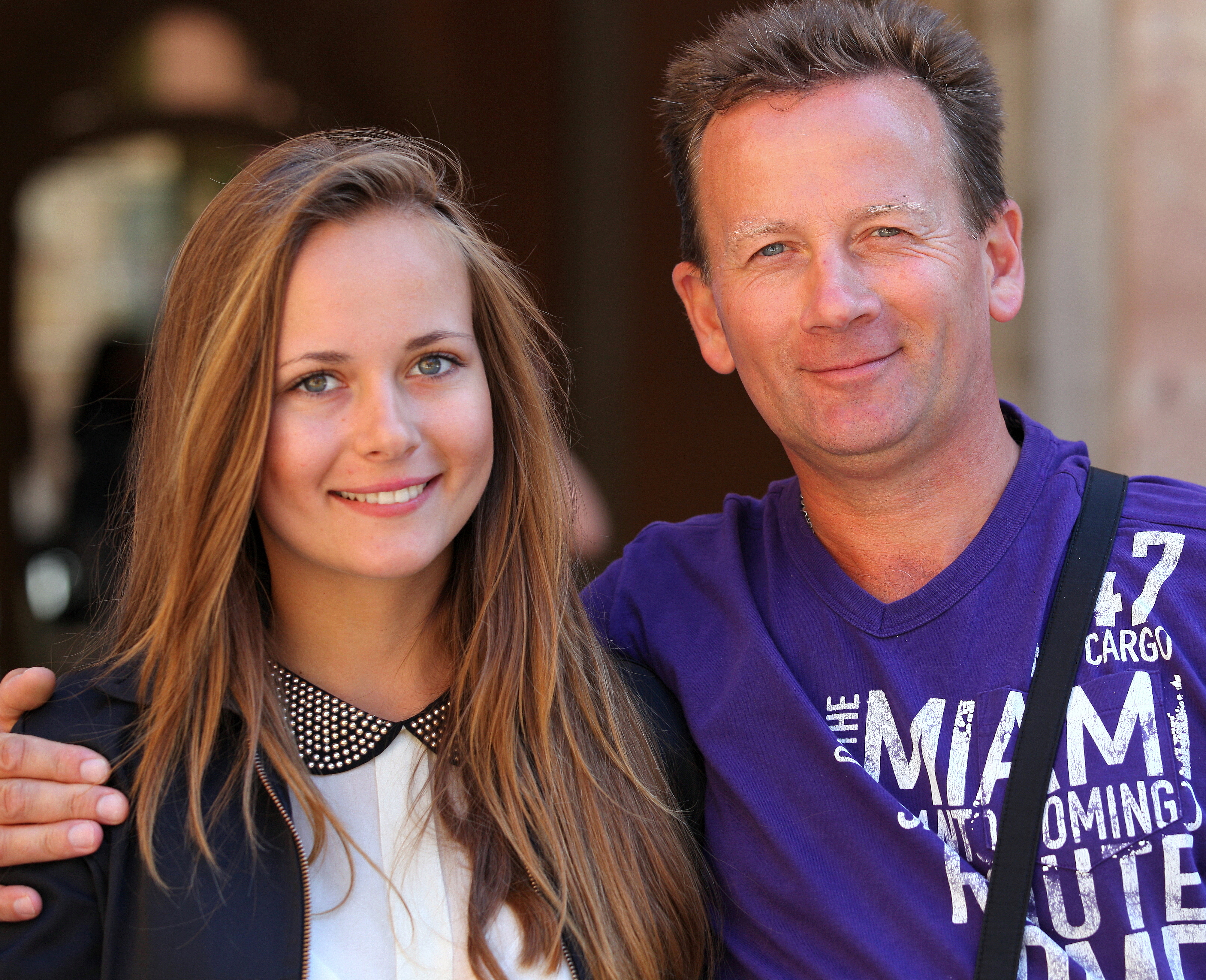 daughter with father, photographed in August 2013