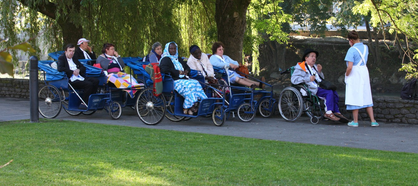 people on wheelchairs in Lourdes, France, August 2013, picture 9