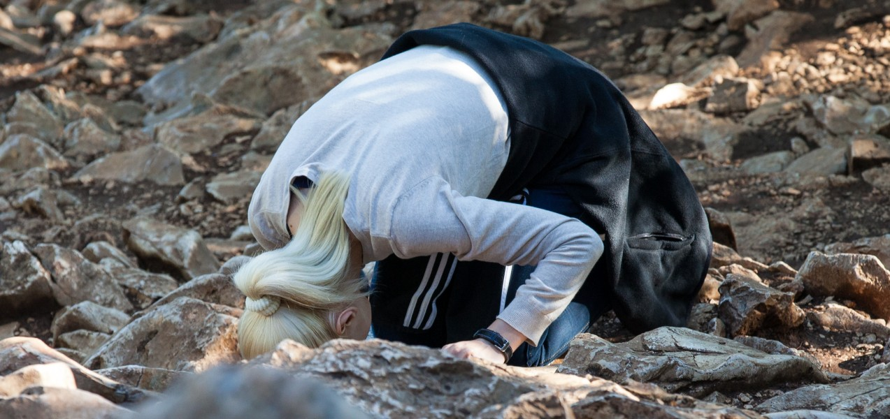 a Catholic girl bowing in Medjugorje, Bosnia, July 2014, picture 17