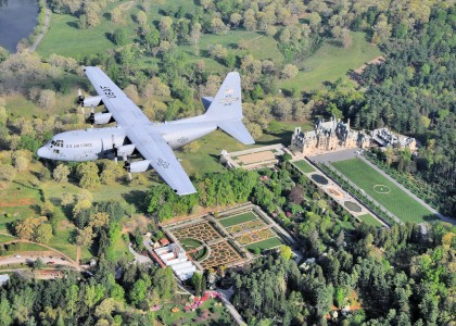 95th Airlift Squadron C-130 over Biltmore House NC