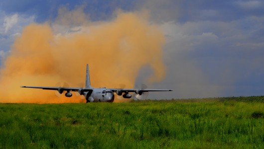 A C-130 Hercules aircraft takes off during Joint Operational Access Exercise (JOAX) 12-2 at Fort Bragg, N.C., June 5, 2012 120605-F-JP934-140