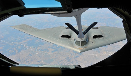 A U.S. Air Force B-2 Spirit bomber refuels from a KC-135 Stratotanker during flight operations 120829-F-TS228-024