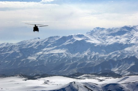 Afghan mountains helicopter