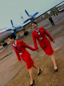 AIR KORYO IL18 STEWARDESSES AT ORANG MOUNT CHILBO AIRPORT DPR KOREA OCT 2012 (8150479776)