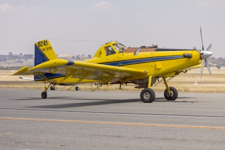 Air Tractor AT-802A (VH-PCD) waiting to refill with fire retardant at Wagga Wagga Airport