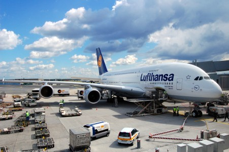 Airbus A380-800 of Lufthansa in Frankfurt Germany - Aircraft ground handling at FRA EDDF