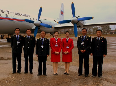 CREW OF AIR KORYO IL18 FLIGHT JS5205 P835 FROM PYONGYANG SUNAN TO ORANG MOUNT CHILBO DPR KOREA OCT 2012 (8179131860)