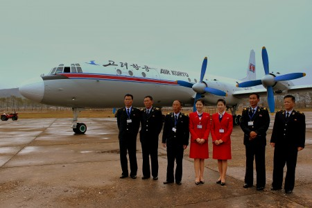 CREW OF AIR KORYO IL18 P835 AT ORANG MOUNT CHILBO AIRPORT DPR KOREA AFTER OPERATING FLIGHT JS5205 FROM PYONGYANG SUNAN AIRPORT OCT 2012 (8150473281)