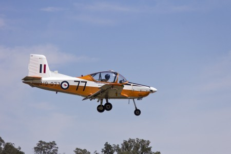 CT-4A Airtrainer A19-077 (VH-NZP) landing during the Warbirds Downunder 2013