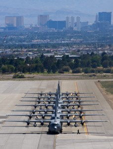 Defense.gov News Photo 100519-F-5985C-205 - A line of C-130 Hercules aircraft taxis during the U.S. Air Force Weapons School Mobility Air Forces Exercise at Nellis Air Force Base Nev. on