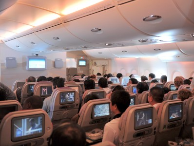 Emirates economy class cabin A380