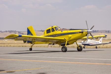Fred Fahey Aerial Services (VH-CVF) Air Tractor AT-802 waiting to refill with fire retardant at Wagga Wagga Airport