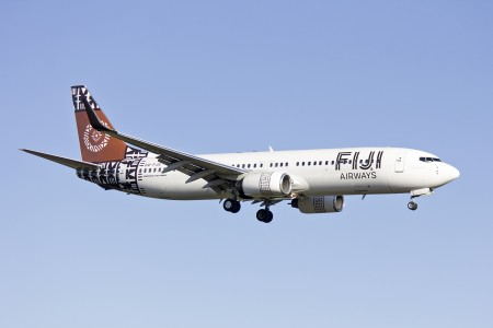 Fuji Airways (DQ-FJG) Boeing 737-8X2(WL) on approach to runway 25 at Sydney Airport