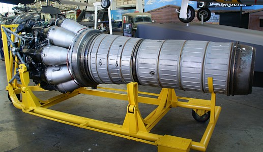 Klimov VK-1 jet engine from MiG-15bis (c-n 1B01524) side view port side