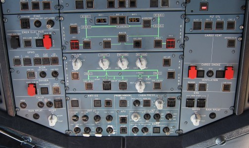 Overhead panel of an Airbus A320 during cruise