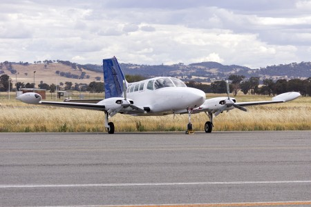 Panorama Airways (VH-PEH) Cessna 402B parked in the general aviation area at Wagga Wagga Airport (1)