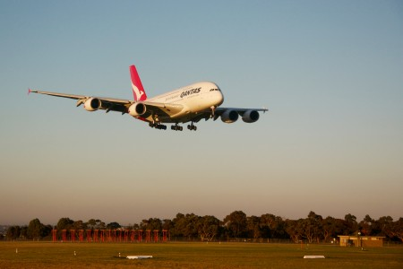 Qantas A380 lands at Melbourne Airport edit