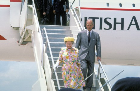 Queen Elizabeth II and Prince Philip disembark from a British Airways Concorde