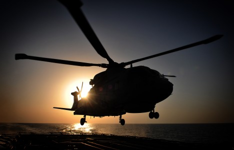 Royal Navy Merlin Helicopter Lands Onboard HMS Somerset Near Iraq MOD 45152086