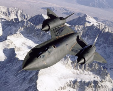 SR-71 Over Snow Capped Mountains - GPN-2000-000162