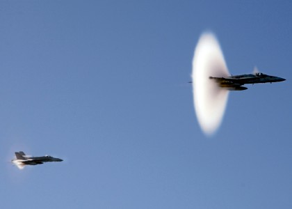 Supersonic aircraft breaking sound barrier