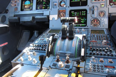 Thrust levers of an Airbus A320