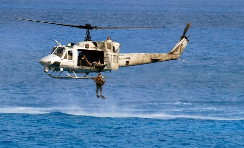 UH-1N dropping Marine off Egypt 2001