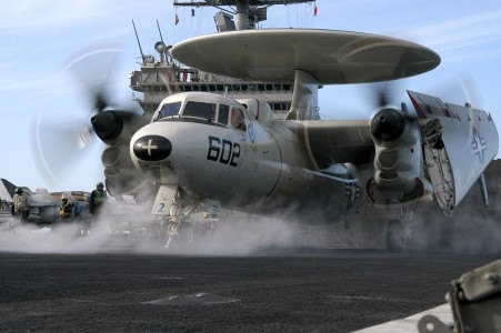 US Navy 040628-N-0119G-013 An E-2C Hawkeye prepares to launch from one of four steam-powered catapults on the flight deck aboard USS Enterprise (CVN 65)