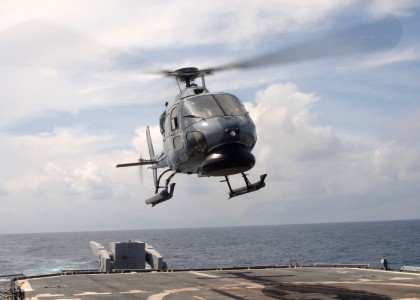 US Navy 050715-N-4374S-010 A Colombian Navy AS-555 Fennec helicopter launches from the flight deck of the guided missile cruiser USS Thomas S. Gates (CG 51) during UNITAS 46-05