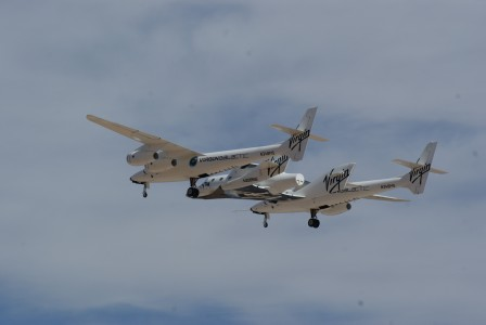 White Knight Two and SpaceShipTwo flying away