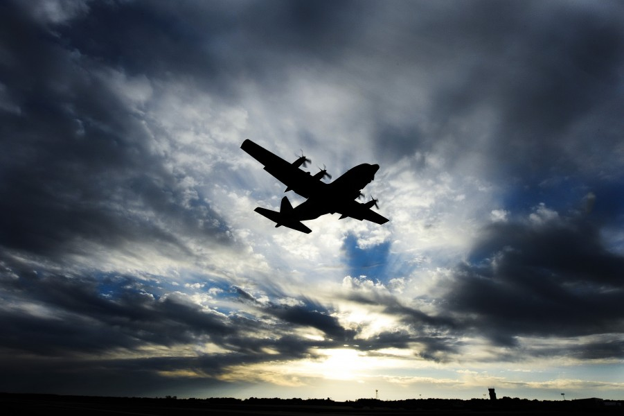 A U.S. Air Force C-130 Hercules takes off from Little Rock Air Force Base 121114-F-YU668-976