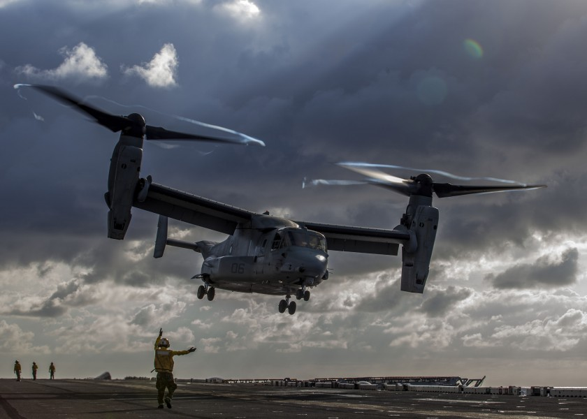 A U.S. Marine Corps MV-22B Osprey takes off from the flight deck of the USS Kearsarge (LHD 3) during flight operations on March 20, 2013 130320-M-SO289-002