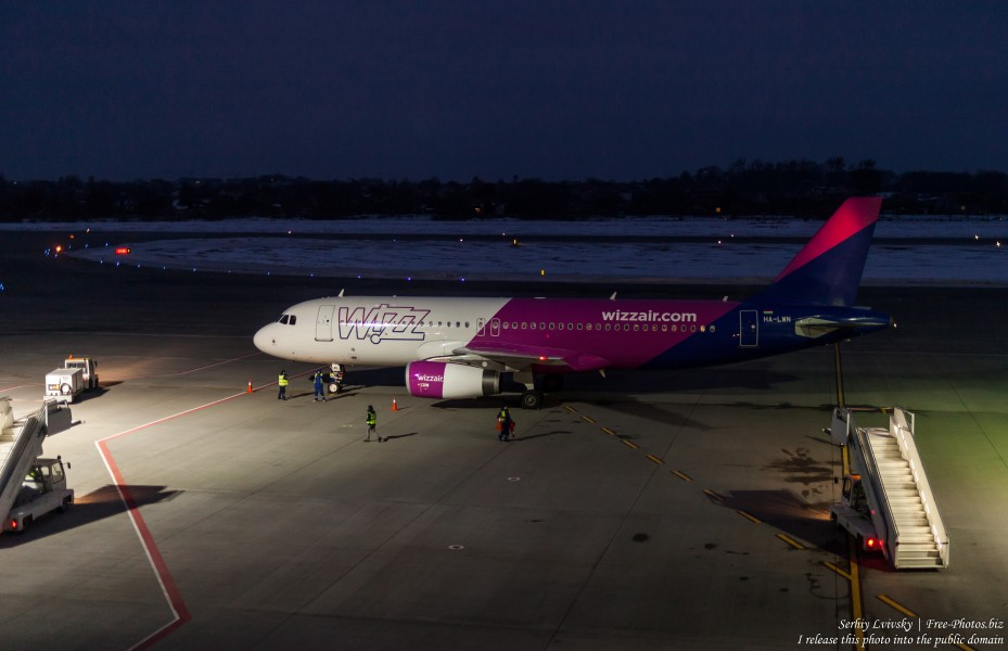 a Wizz Air airplane in Lviv airport, Ukraine, in February 2019