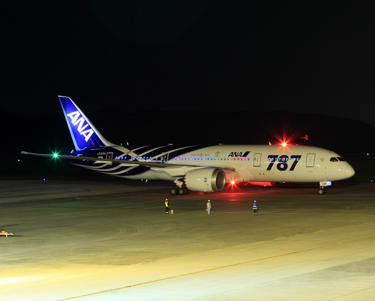 All Nippon Airways Boeing 787-8 Dreamliner JA801A OKJ Night