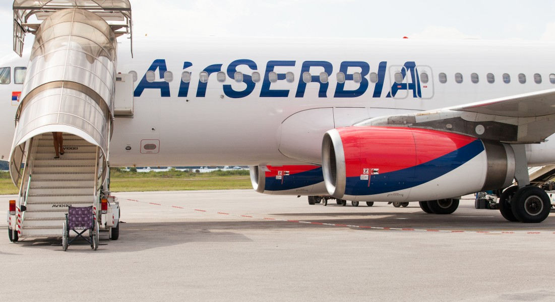 an Air Serbia airplane photographed in Tivat, Montenegro in August 2014, picture 2