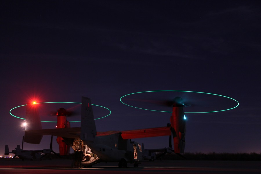 Defense.gov News Photo 101021-M-1267T-072 - A U.S. Marine Corps MV-22 Osprey aircraft sits on the flight line at Marine Corps Air Station Yuma Ariz. on Oct. 21 2010. The aircraft was flown