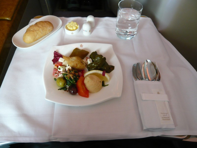 Emirates Business class meal on A380 (5646674365)