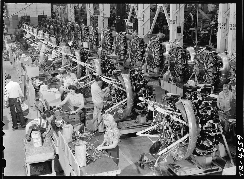 Inside the Douglas aircraft plant at El Segundo, Cal. Row on row the powerful engines that will drive SBD's on... - NARA - 520741