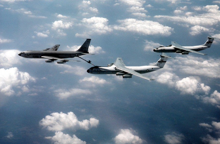 KC-135A refueling two C-141Bs 1983