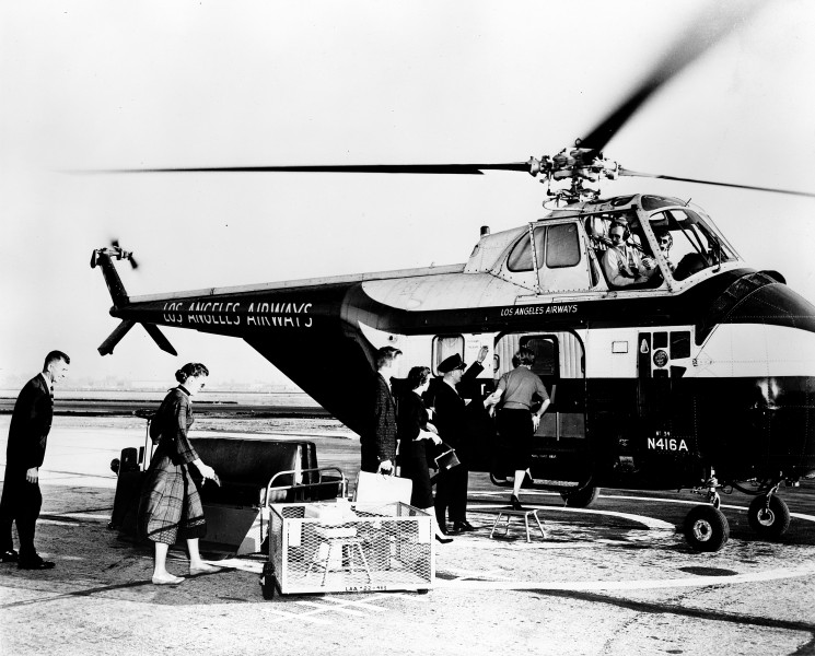 Los Angeles Airways helicopter service, Orange County Airport, circa 1960