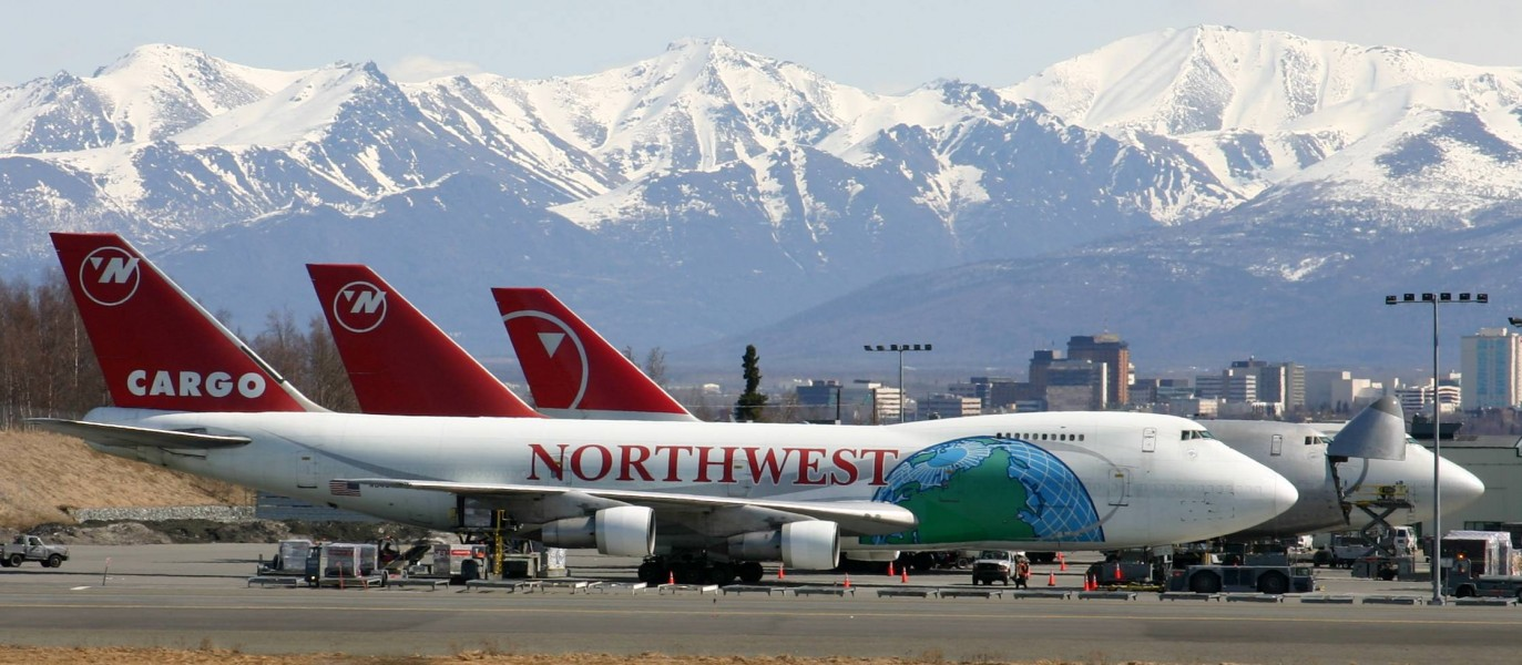 Northwest 747 Freighters Ted Stevens International Airport
