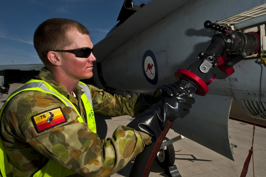 RAAF airman refueling an FA-18 during a Red Flag exercise in the the US