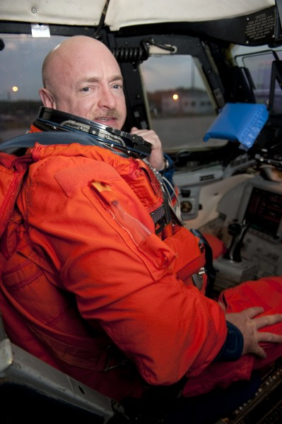 STS-134 Mark Kelly in the Shuttle Training Aircraft