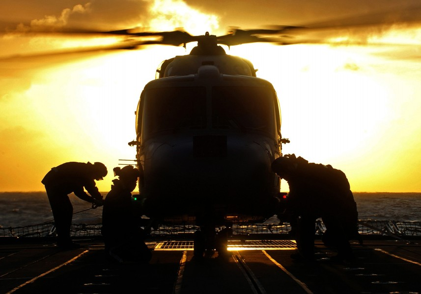 Sunset Launch of HMS Argyll's Lynx Helicopter MOD 45149726