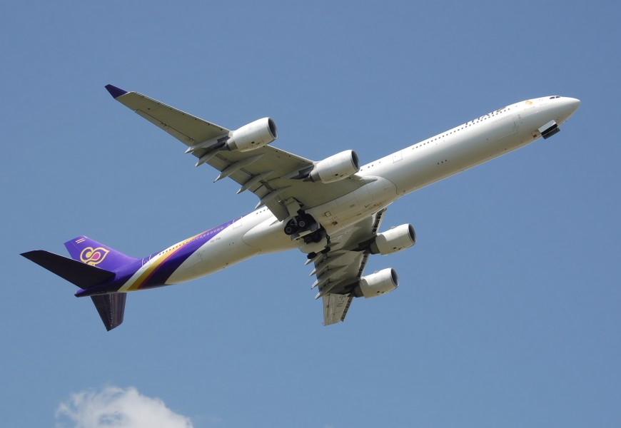 Thai airways a340-600 hs-tna takeoff arp