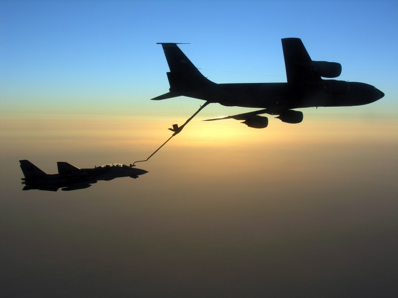 US Navy 051109-N-0000X-001 An F-14D Tomcat conducts aerial refueling with a U.S. Air Force KC-135 Stratotanker during a mission over the Persian Gulf region