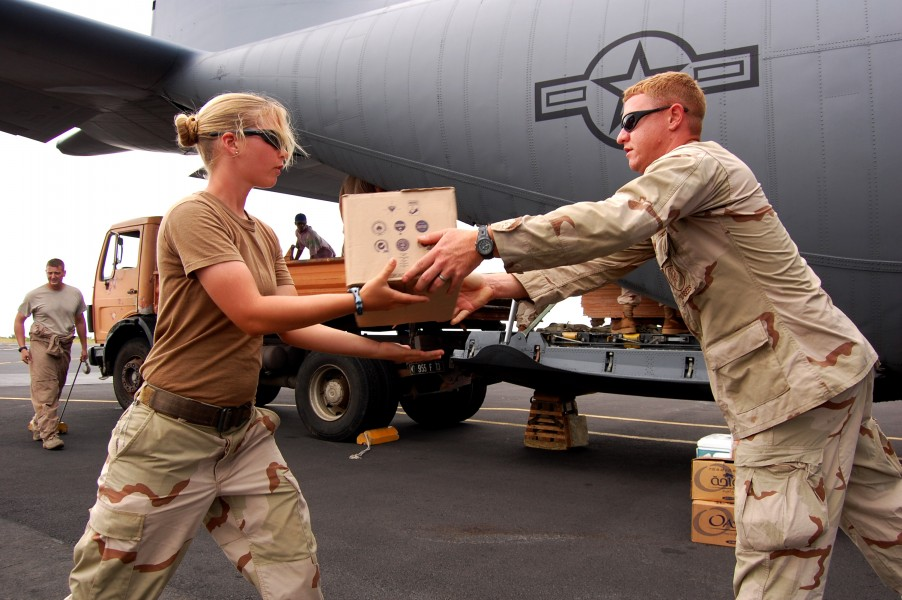 US Navy 090424-N-1057H-498 Seabees assigned to Naval Mobile Construction Battalion (NMCB) 11, Detachment Horn of Africa offload supplies from an Air Force C-130 Hercules cargo plane