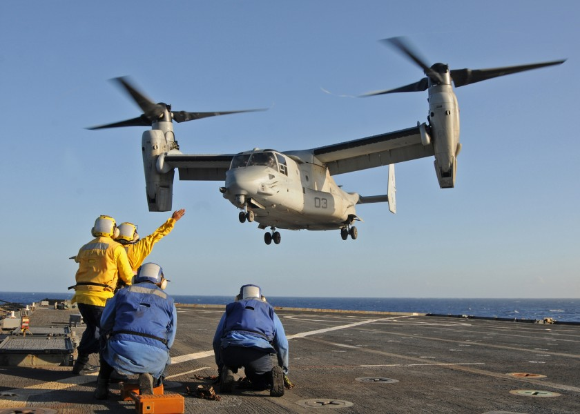 US Navy 100127-N-1082Z-073 Fight deck directors aboard the amphibious dock landing ship USS Ashland (LSD 48) launch an MV-22 Osprey assigned to Marine Medium Tiltrotor Squadron (MMV) 162