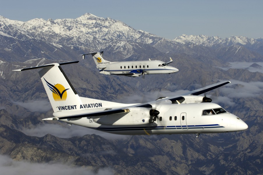 Vincent Aviation De Havilland Dash 8-100 (ZK-VAC) and Beechcraft 1900D (ZK-VAB) over New Zealand's South Island