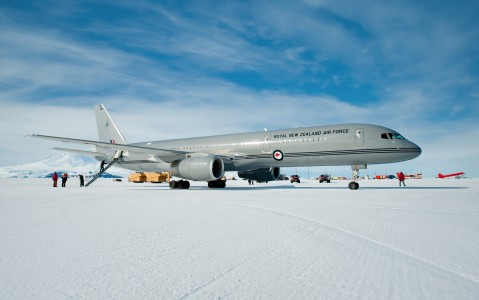 Air Force Boeing 757 in Pegasus Field Antarctica